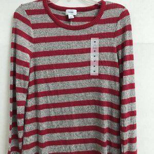 Old Navy  Sweater Red Gray Striped M